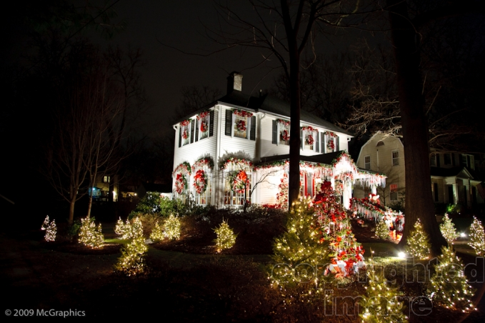 Christmas lights on a house in Webster Groves, Missouri | Stock Photo