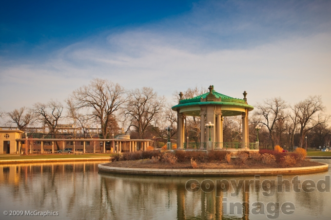 Gazebo in front of the Muny Opera in Forest Park, St Louis, Missouri | Stock Photo